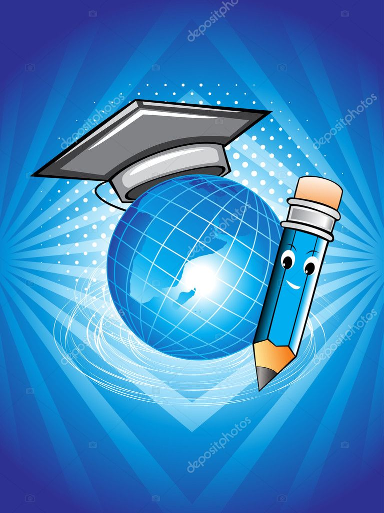 Background With Globe Graduation Cap And Pencil Stock
