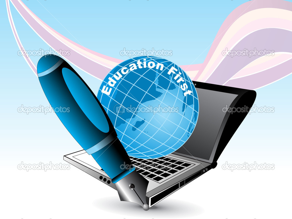 education background with globe, laptop and pen