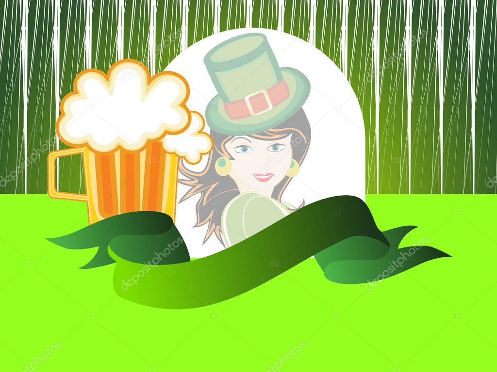 Background with beer mug, ribbon and cute girl
