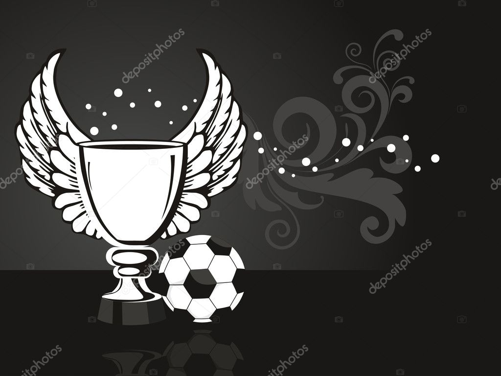 Background With Ornate Trophy Football Stock Vector