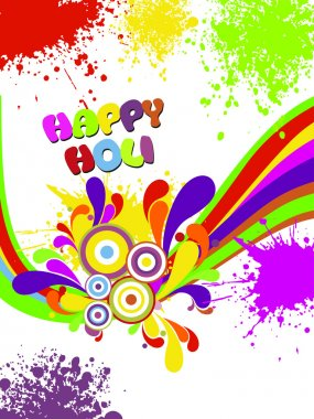 Abstract colorful artwork happy holi background, vector illustration stock vector