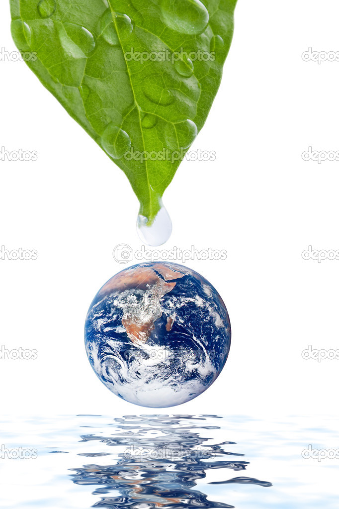 Water drop falling onto earth planet isolated
