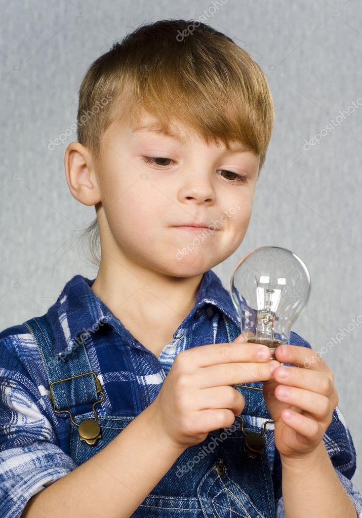 Boy and light bulb