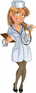 Medical girl in white uniform with phone