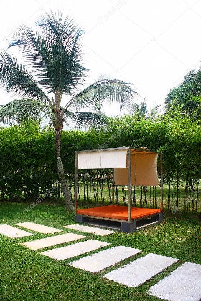 Poolside Cabana with Coconut Tree