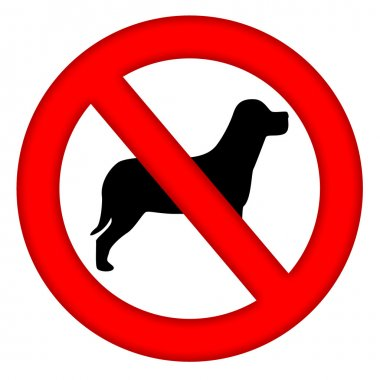 No Dogs Area Sign