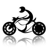 Motorradfahrer auf Fahrrad
