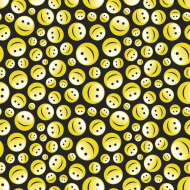 Seamless pattern with smile face. Vector illustration.