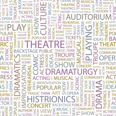 THEATRE. Word collage on black background. Illustration with different asso