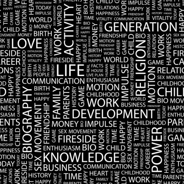 LIFE. Word collage on black background.