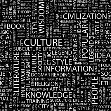 CULTURE. Word collage on black background.