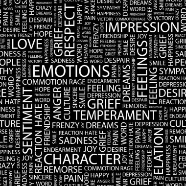 EMOTIONS. Word collage on black background.