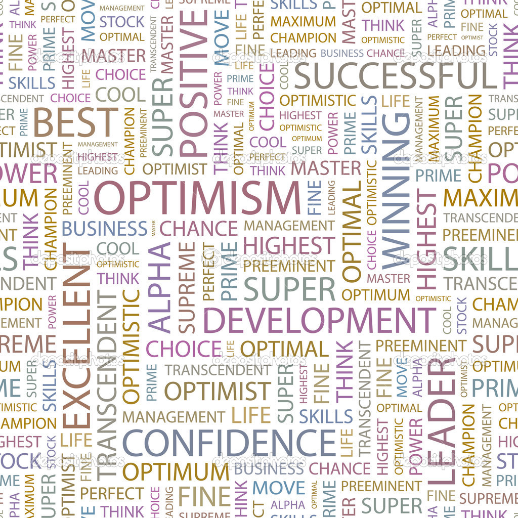 OPTIMISM  Seamless vector pattern with word cloud — Stock