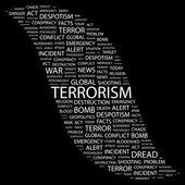 terorismus. slovo koláž na černém pozadí