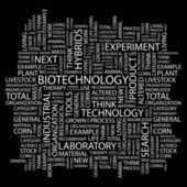 biotecnologia. parola collage su sfondo nero