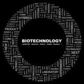 Biotechnologie. Wort-Collage auf schwarzem Hintergrund