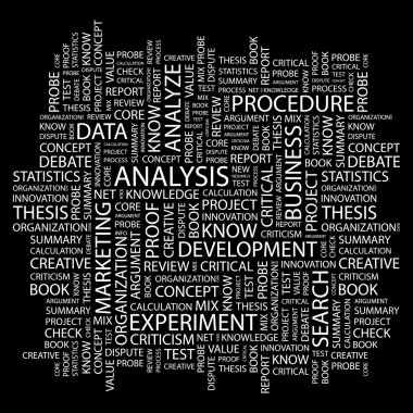 ANALYSIS. Word collage on black background