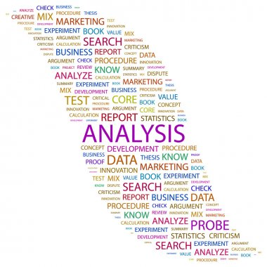 ANALYSIS. Word collage on white background