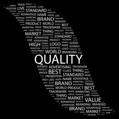 QUALITY. Word collage on black background