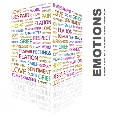 EMOTIONS. Word collage on white background