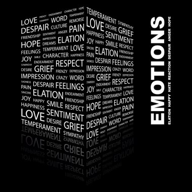 EMOTIONS. Word collage on black background