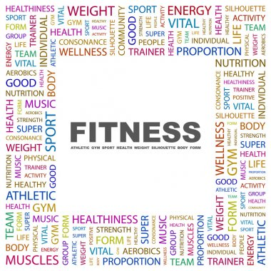 FITNESS. Word collage on white background