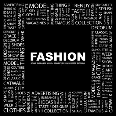 FASHION. Word collage on black background