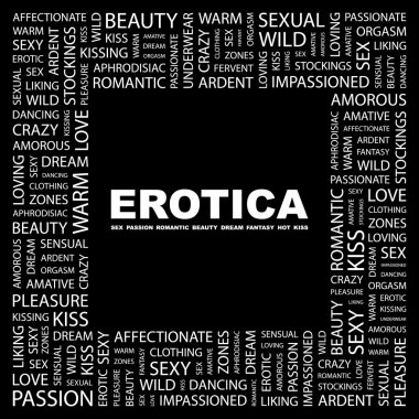 EROTICA. Word collage on black background