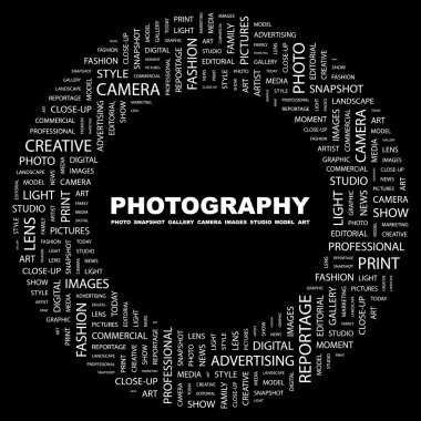 PHOTOGRAPHY. Word collage on black background