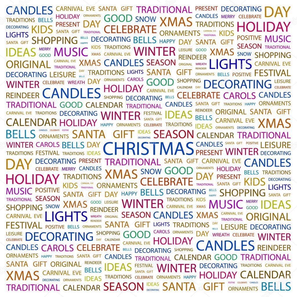 Weihnachten. Wort-Collage auf weißem Hintergrund — Stockvektor ...