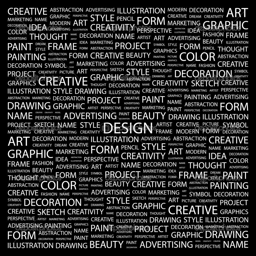 Design Word Collage On Black Background Stock Vector