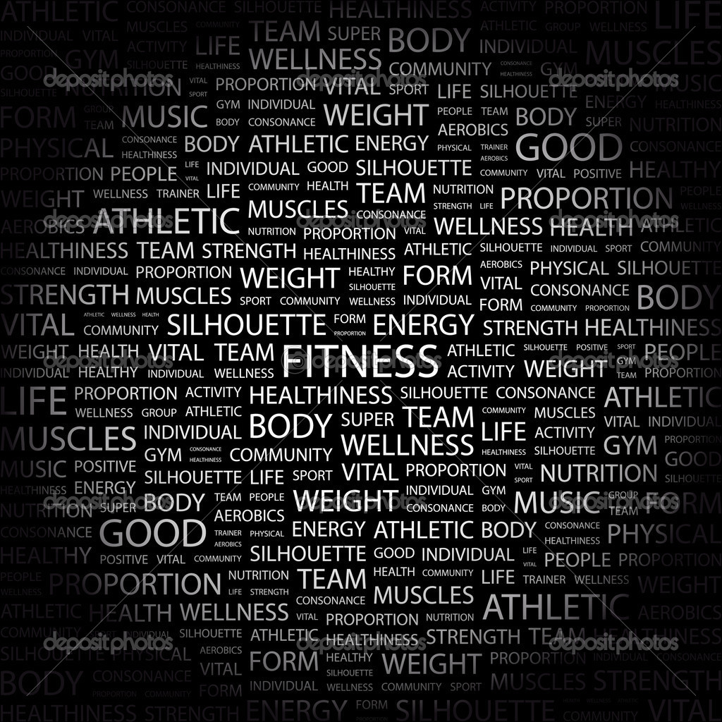 FITNESS. Word collage on black background.