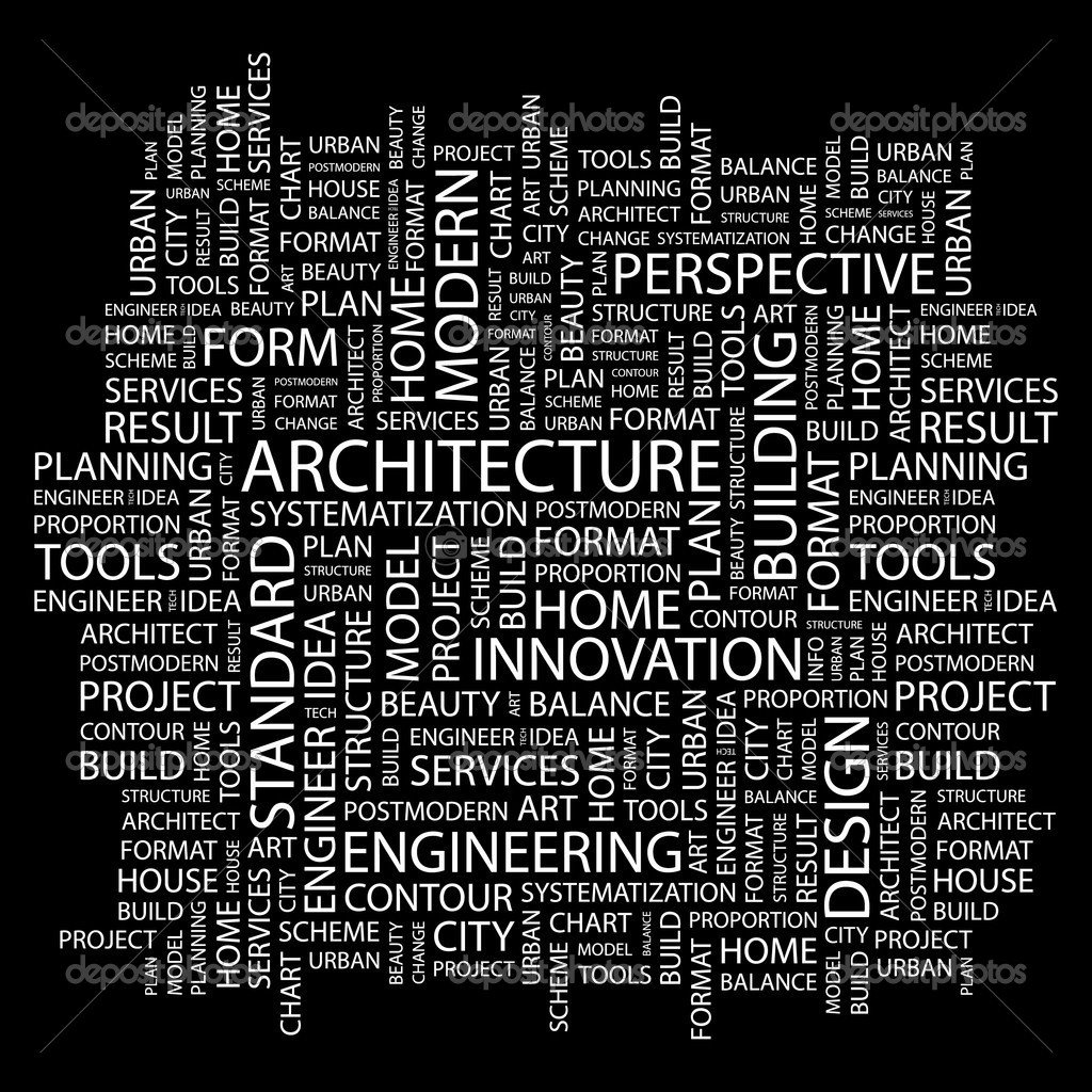 Architecture word collage on black background stock for Architecture keywords