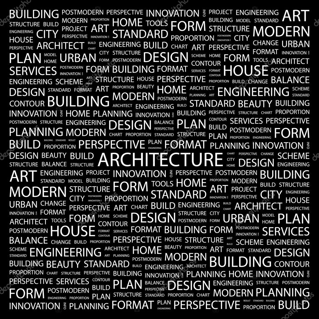 ARCHITECTURE Word Collage On Black Background Stock Vector 3509296