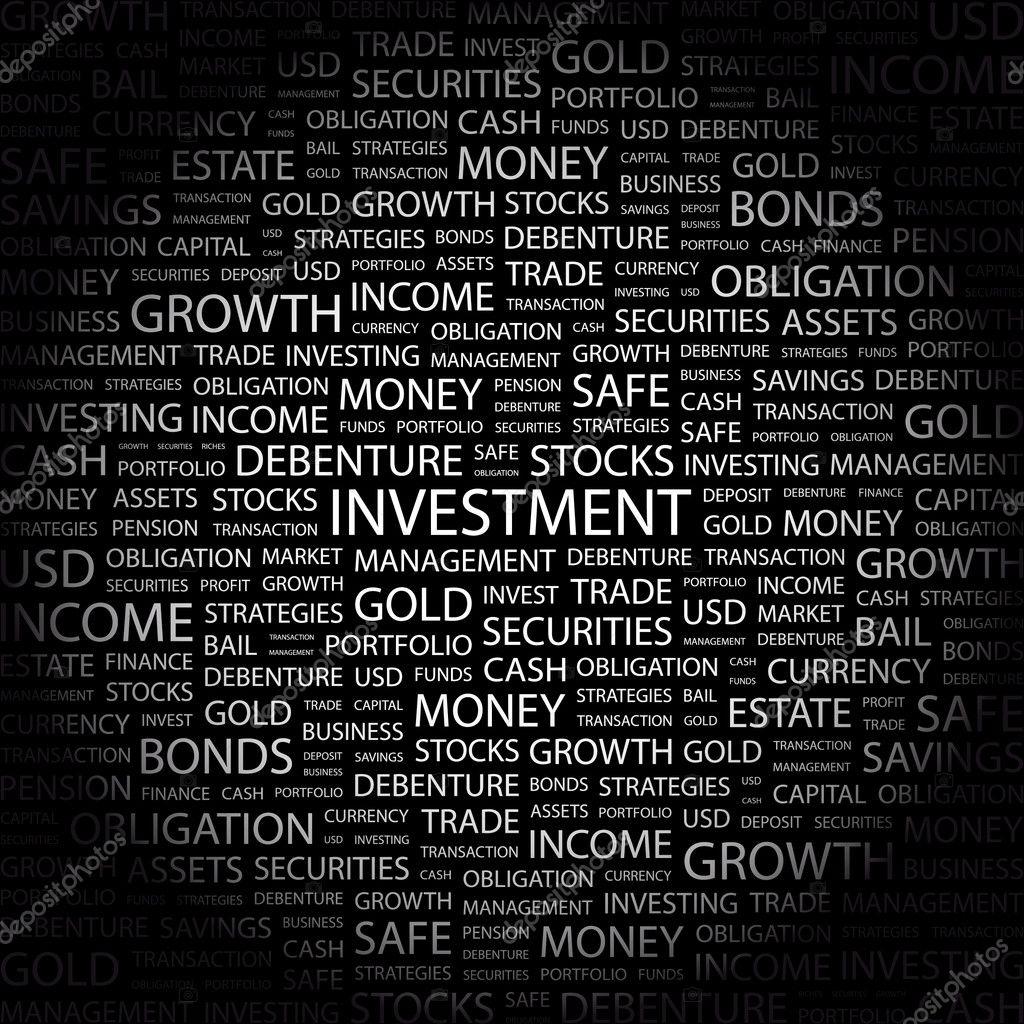 Yatırım Siyah Arka Plan üzerinde Kelime Kolaj Stok Vektör