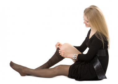 Young girl wear black pantyhose