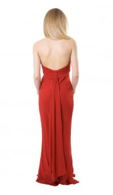 Back of the slim girl in a evening dress