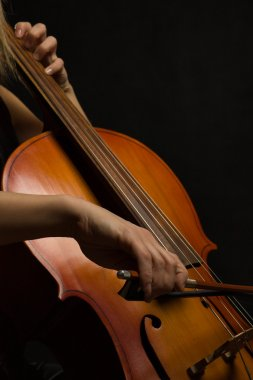 Close up musician hands with cello