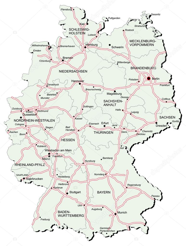 Germany autobahn map — Stock Vector © bussja #3316502