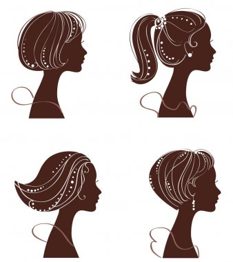 Beautiful women and girl silhouettes