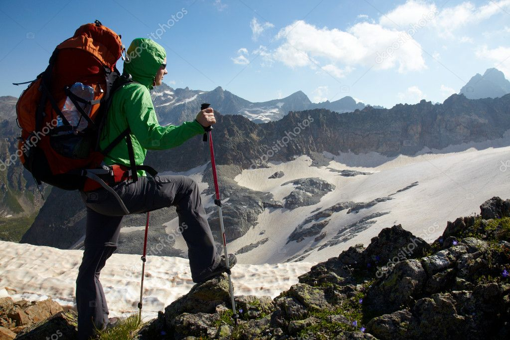 Girl in a high mountains