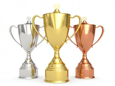 Golden, silver and bronze trophy cups