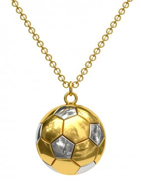 Gold pendant in shape of soccer ball