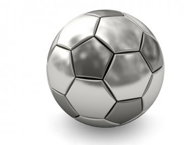 Silver or platinum soccer ball on white