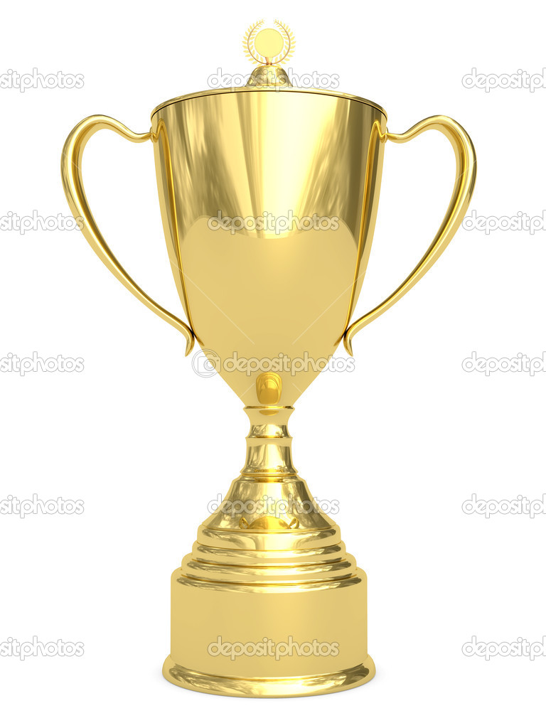 Golden trophy cup on white
