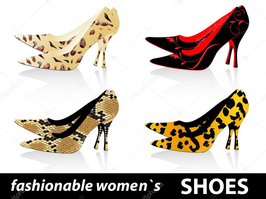 1340d12840 Set of four pairs fashionable women`s shoes — Vector by S Razvodovskij