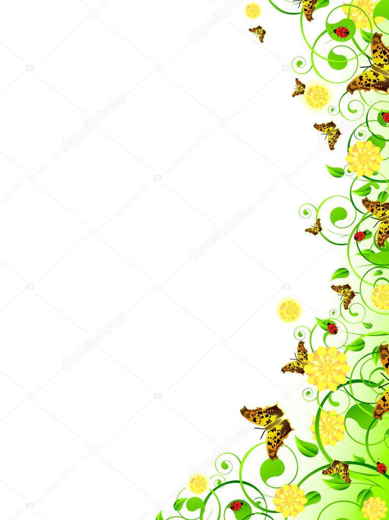 marco floral vertical — Archivo Imágenes Vectoriales ...