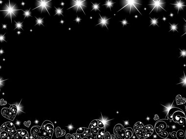 Abstract background in black with hearts and stars