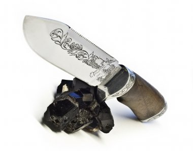 Knife, tourmaline cristall