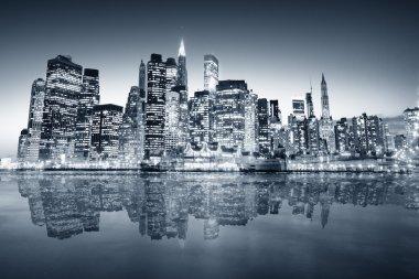 """Картина, постер, плакат, фотообои """"big apple after sunset - new york manhat арт"""", артикул 3196846"""
